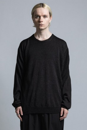 The Viridi-anne 21SS Nylon/Linen Middle Gauge Long Sleeve Pullover Knit