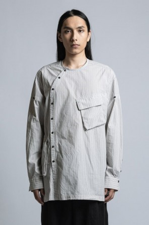 The Viridi-anne21SSStriped Shirt With Diagonal Opening