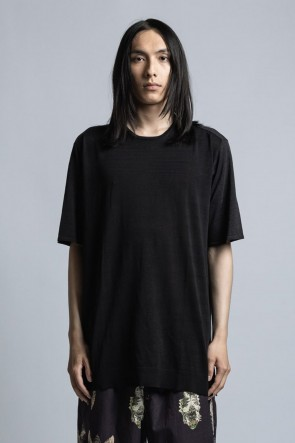 The Viridi-anne 21SS Silk/Linen/Cotton High Gauge Half Sleeve Pullover Knit Black / Charcoal