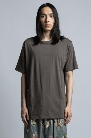 The Viridi-anne 21SS 40/- Jersey Knit T-Shirt with Logo Embroidery Gray Khaki