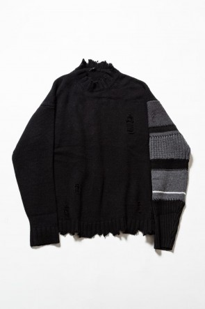 The Viridi-anne 19-20AW Sleeve Border Wool Cashmere Sweater