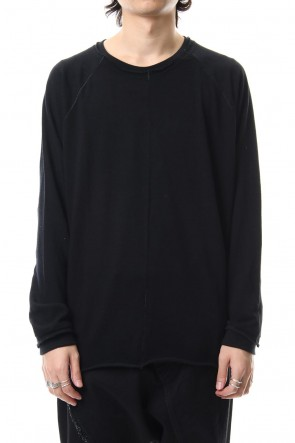 The Viridi-anne 19-20AW Cotton Wool Plain Stitch long Sleeve T-Shirts - Black