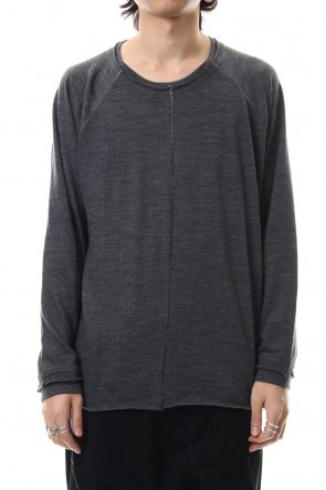 The Viridi-anne 19-20AW Cotton Wool Plain Stitch long Sleeve T-Shirts - Gray