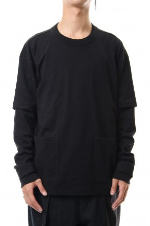 The Viridi-anne 19-20AW Jersey stitch Long sleeve Pocket T - Black