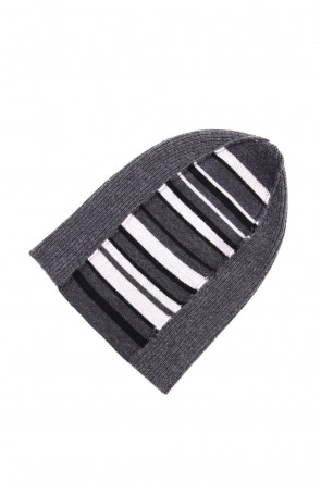 The Viridi-anne 19-20AW Cashmere Merino wool Knit cap - Gray Stripe