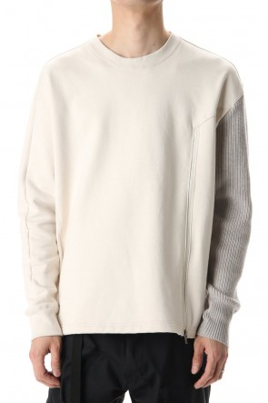 The Viridi-anne20-21AWCotton Fleece-Lined Sleeve Knit Crew Neck Ivory