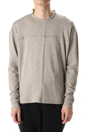 The Viridi-anne20-21AWCotton Wool Jersey Crew-Neck Long Sleeve T-Shirts Beige