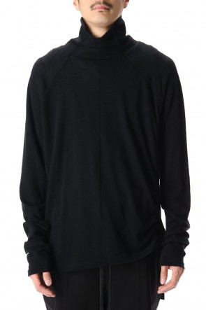 The Viridi-anne 20-21AW Cotton Wool Jersey Bottleneck Long Sleeve T-Shirts Black