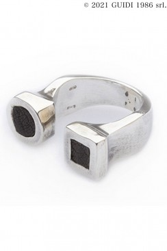 Guidi Classic G-AN19 - Square x Round Leather Motif Ring