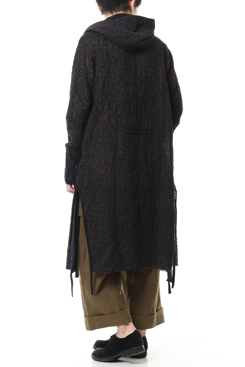 Solid Check Hooded Coat