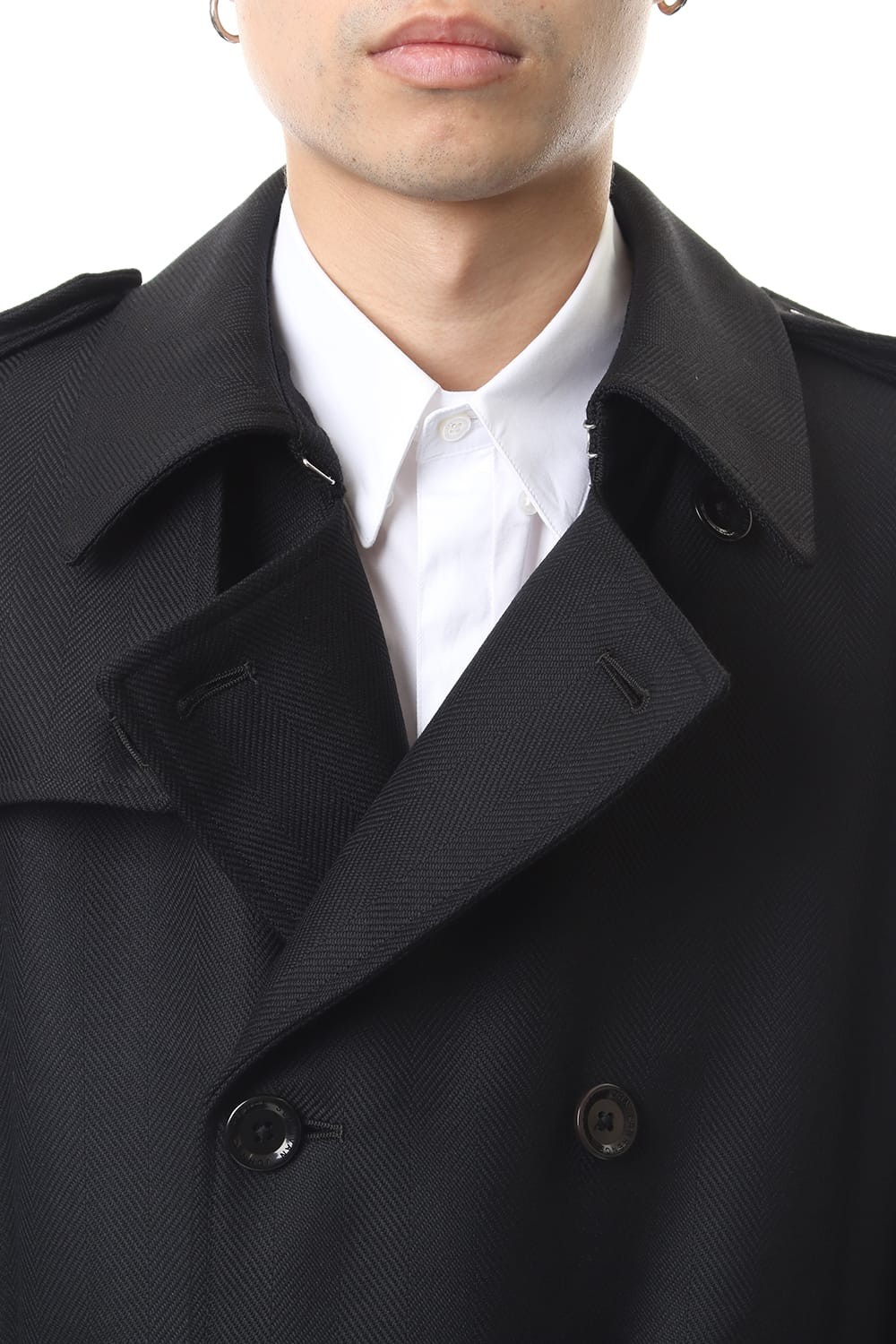 WOOL HERRINGBONE TRENCH COAT