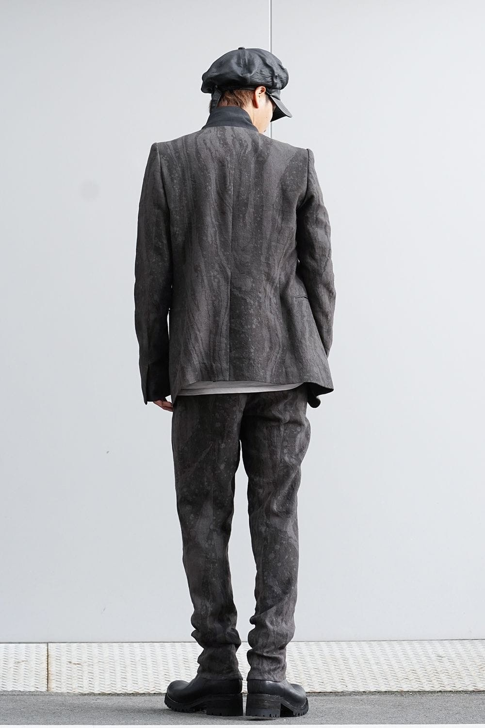 Suminagashi-dyed Linen High-Neck Tailor JKT