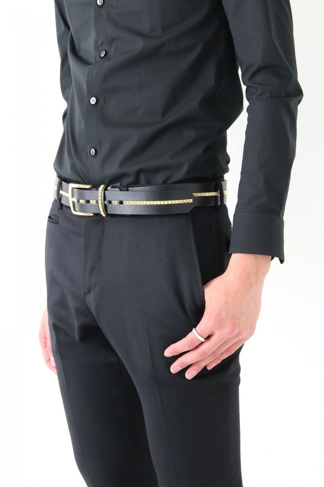 17PS OIled Cow Studs Belt BLK×GOLD