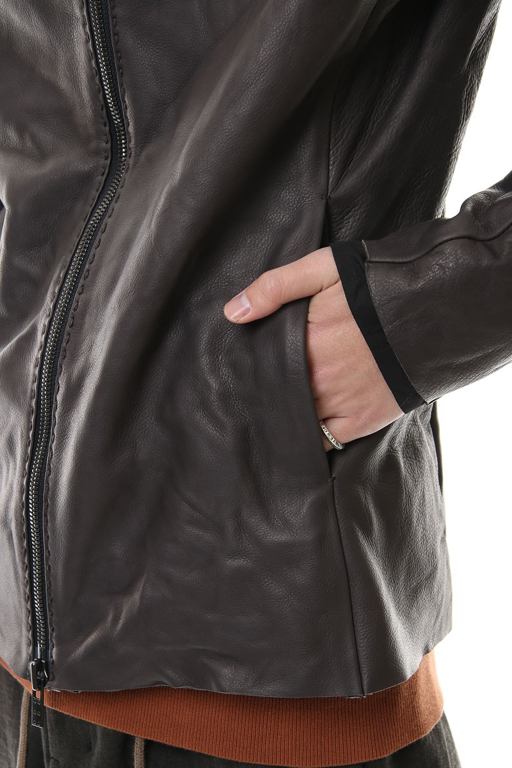 Leather jacket cow leather - Charcoal