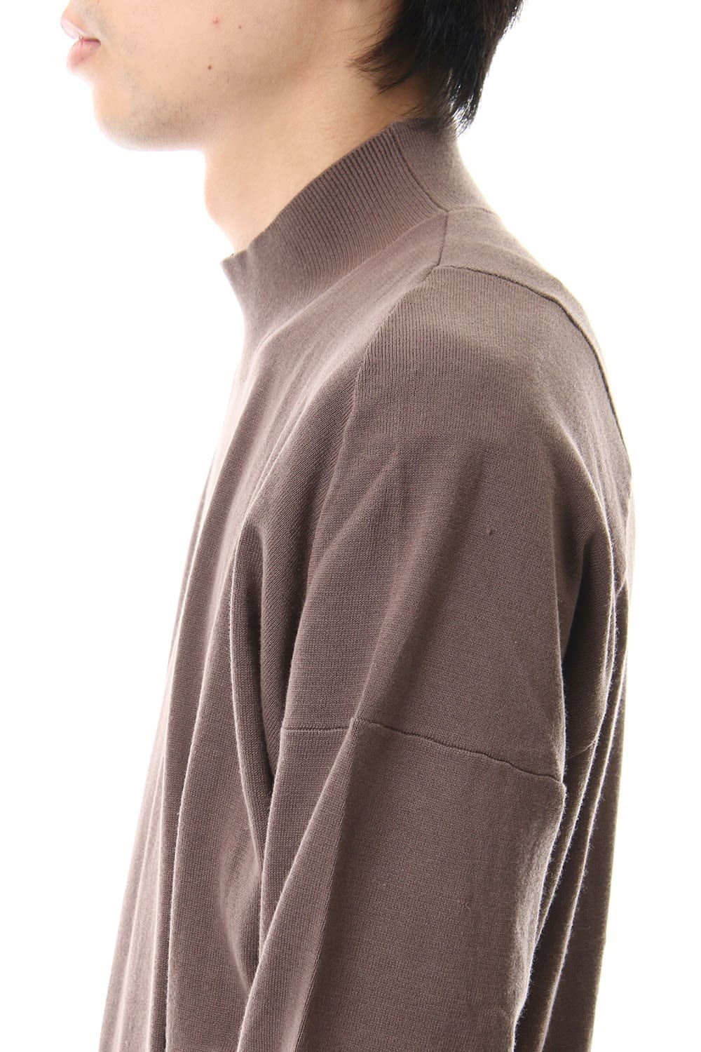 Knit high neck Cotton Gray