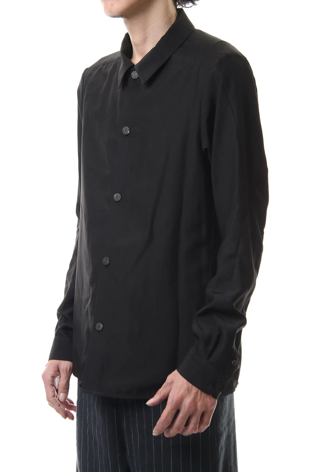 Open collar shirt silk tencel sandblast Black