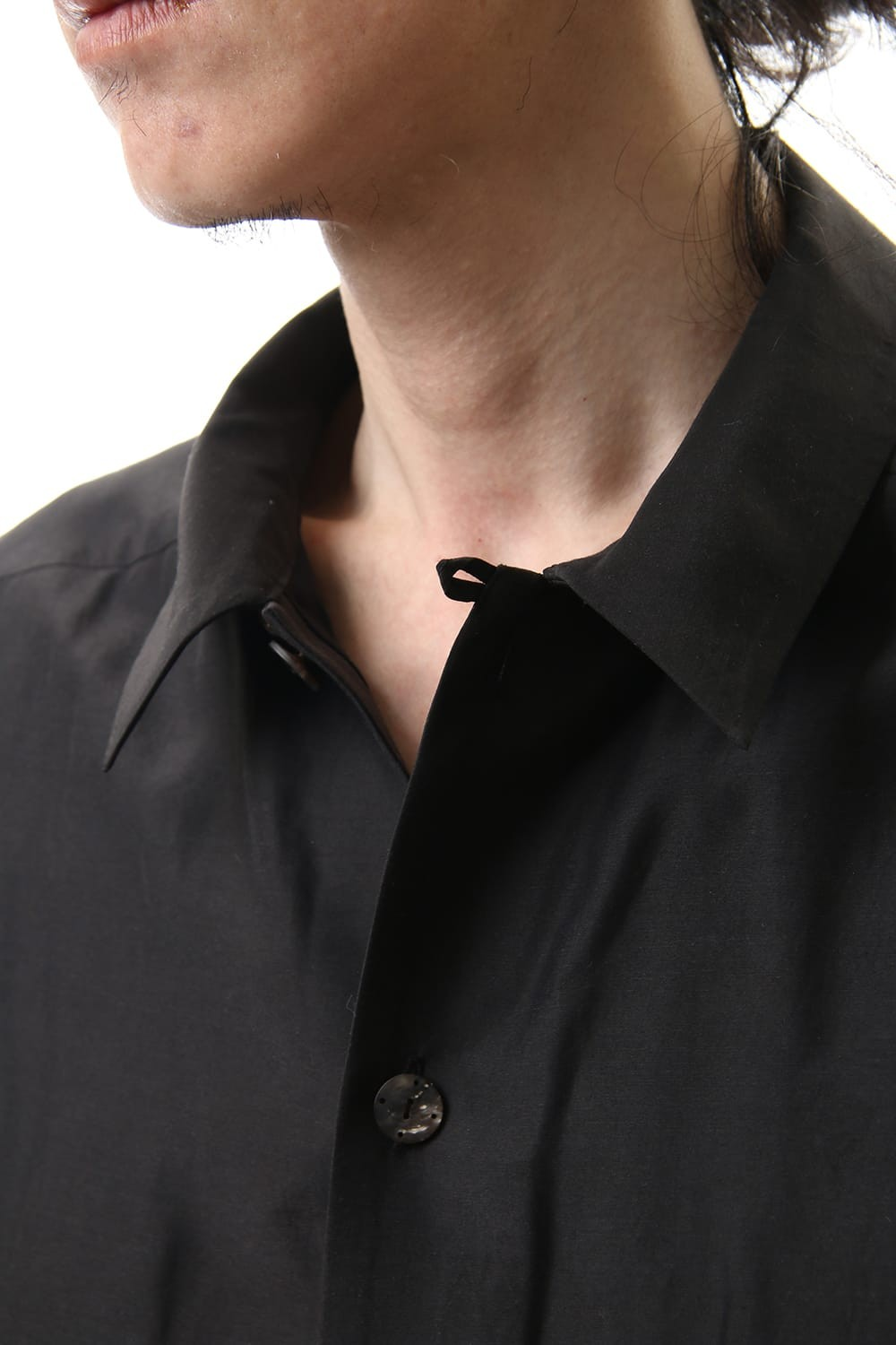 Open collar shirt silk tencel sandblast Charcoal