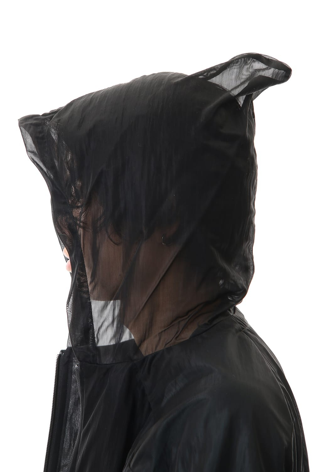 See throug Back print Hooded blouson Black