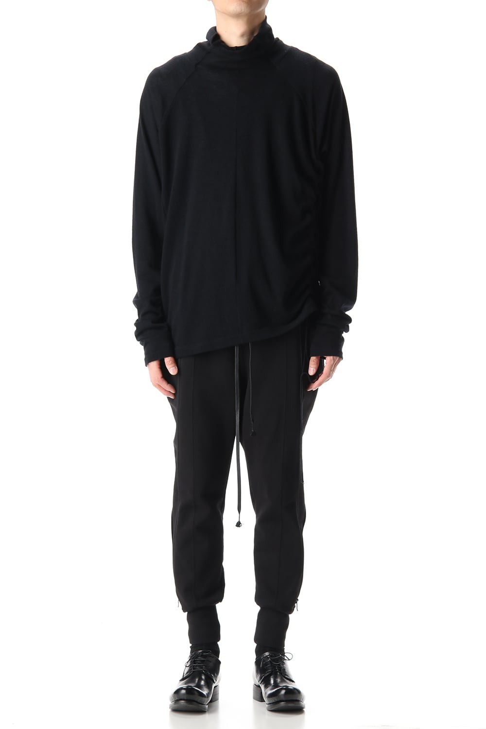 Cotton Wool Jersey Bottleneck Long Sleeve T-Shirts Black