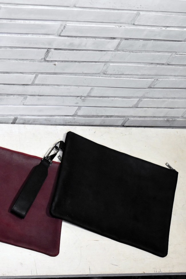Velour Leather Clutch Bag with Handle