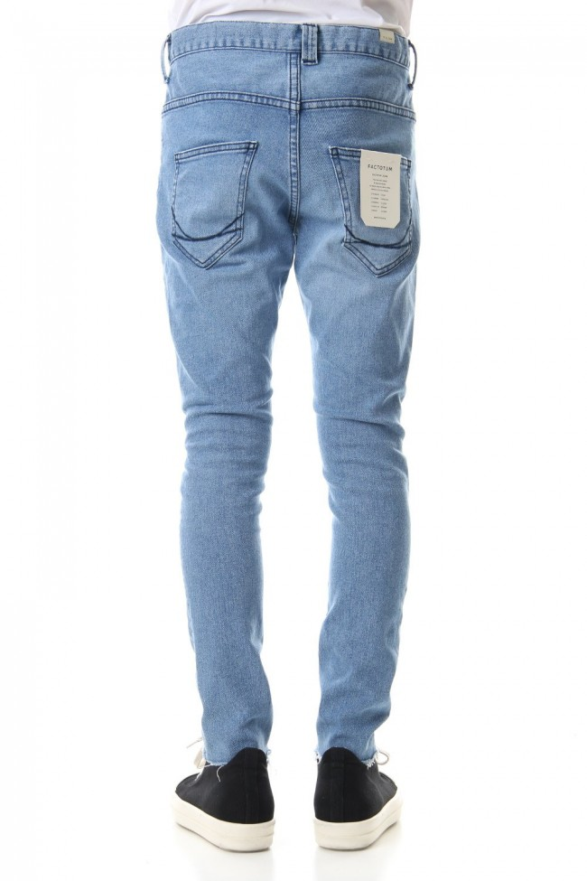 High Power Stretch Denim Damage Skinny Pants - Indigo