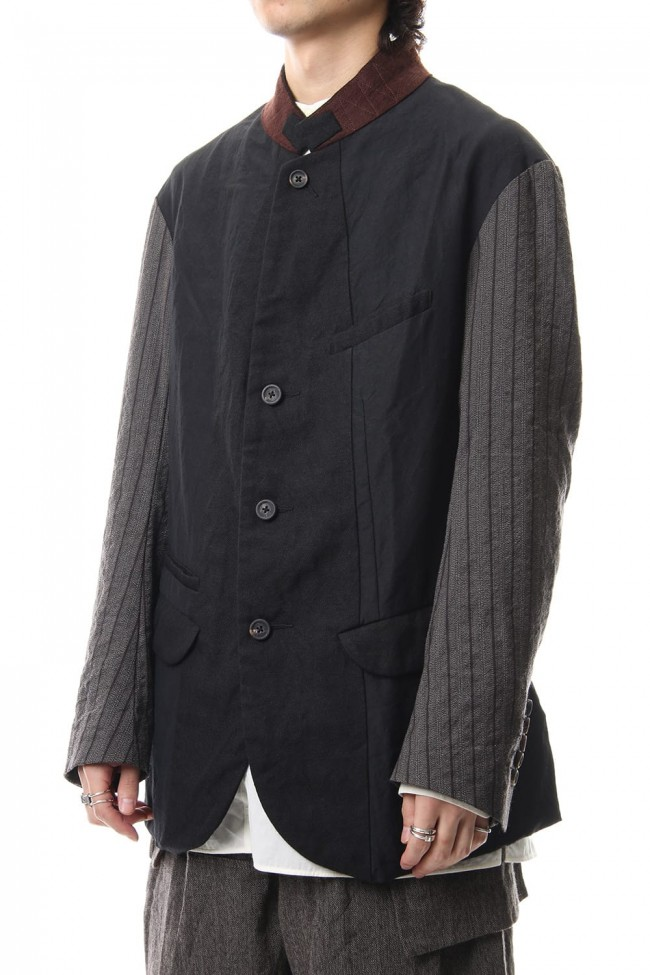 No Collar Stripe Sleeve Jacket