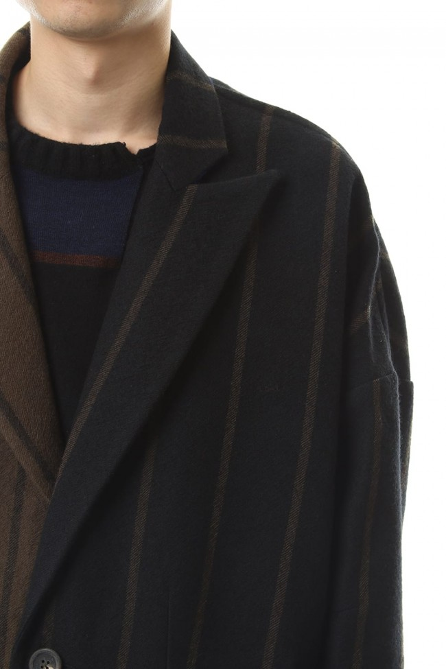 Asymmetric Stripe Coat