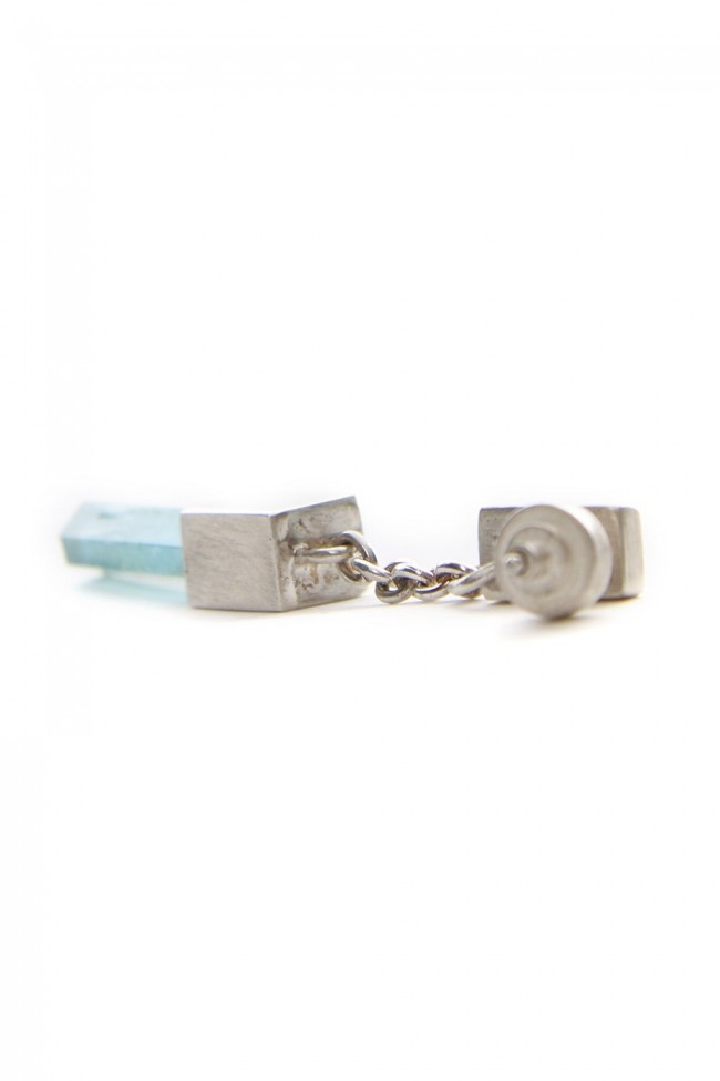 Talisman Cuboid Dangle Earring (Aquamarine, Medium Crystal, MA+AQU)