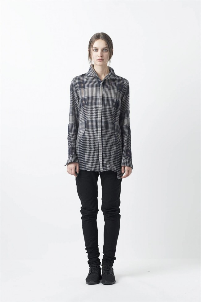 Distorted Check Needle Punch Blouse - 07B-B01