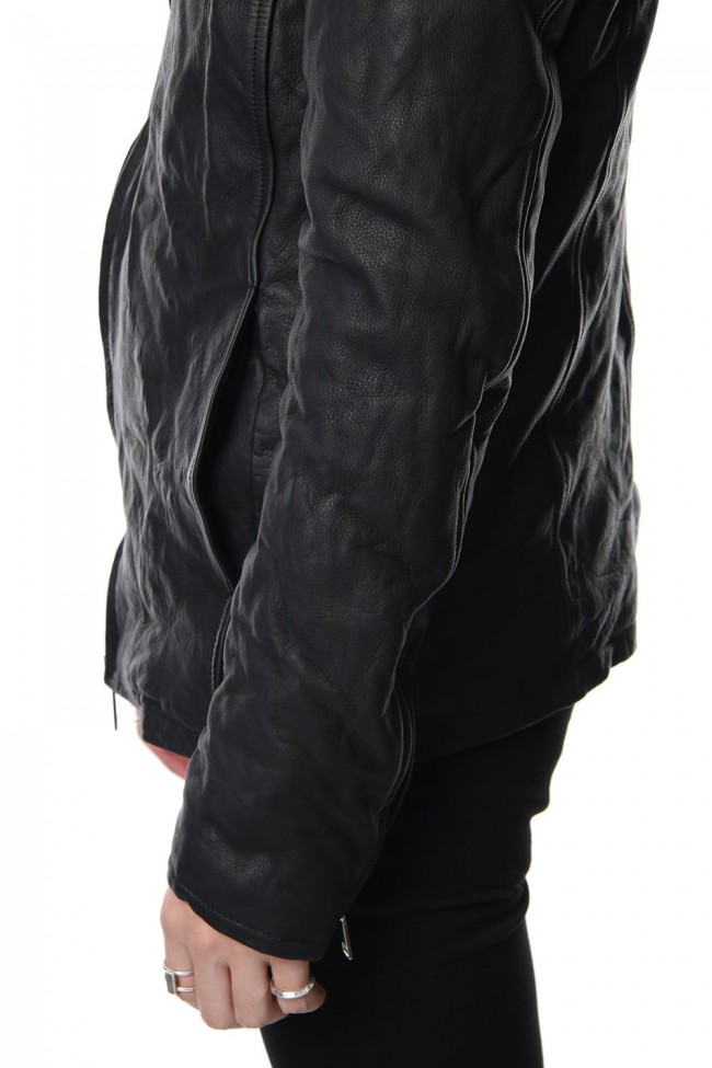 Stand collar single blouson - Black