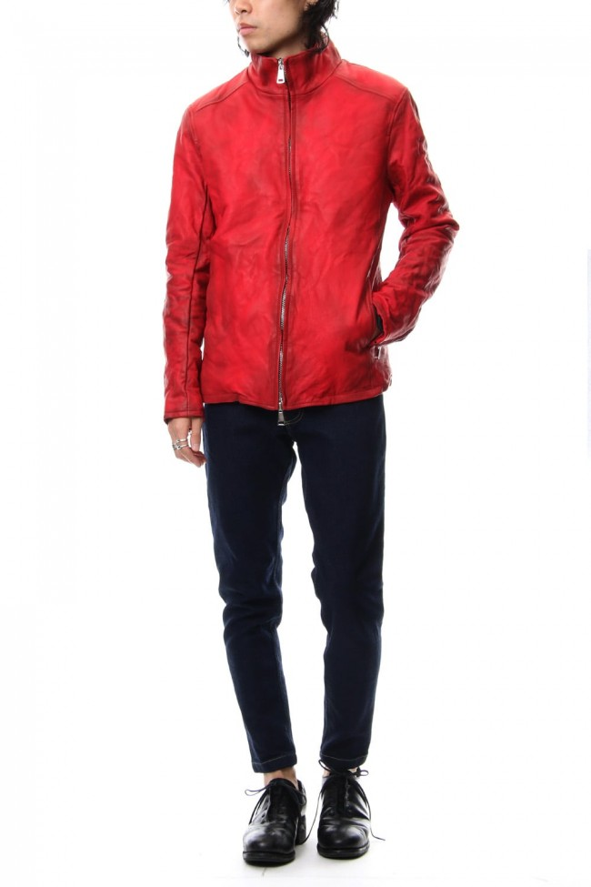 Stand collar single blouson - Red