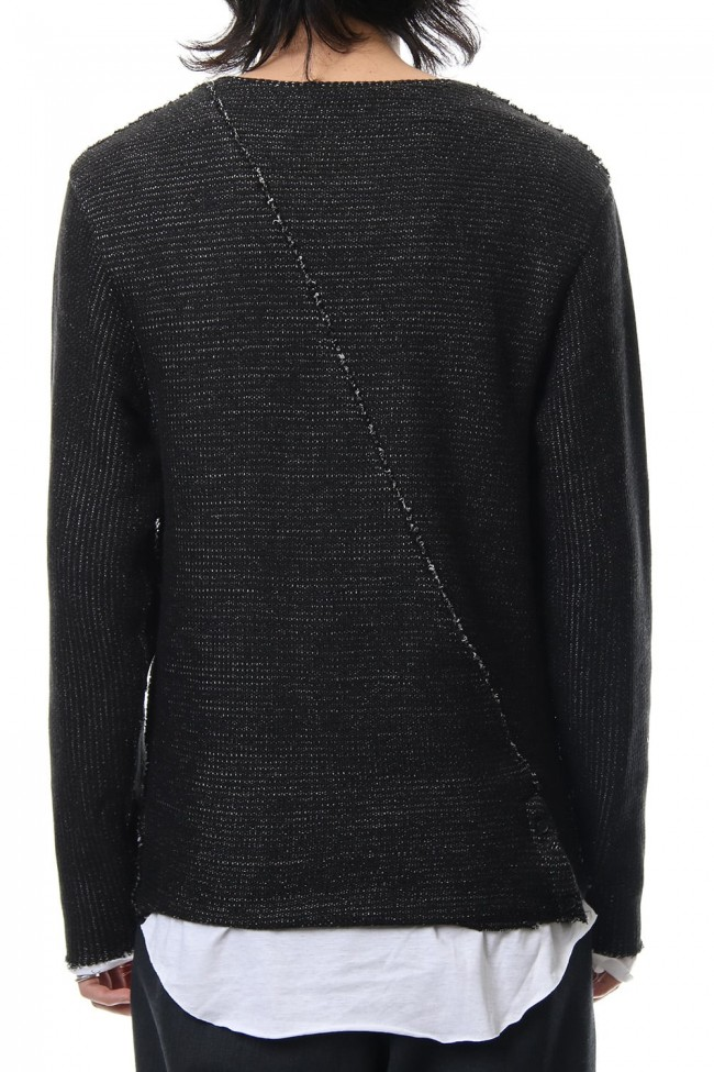 Layered Slash Knit - BLK/WHT