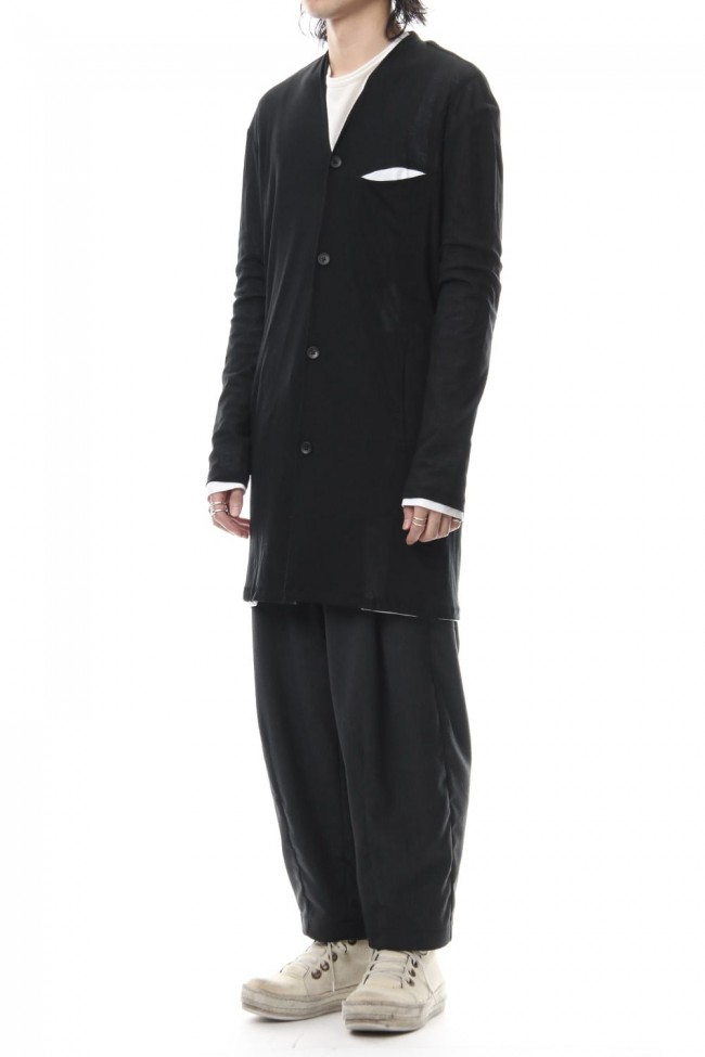 Layered Long Cardigan - blk/wht