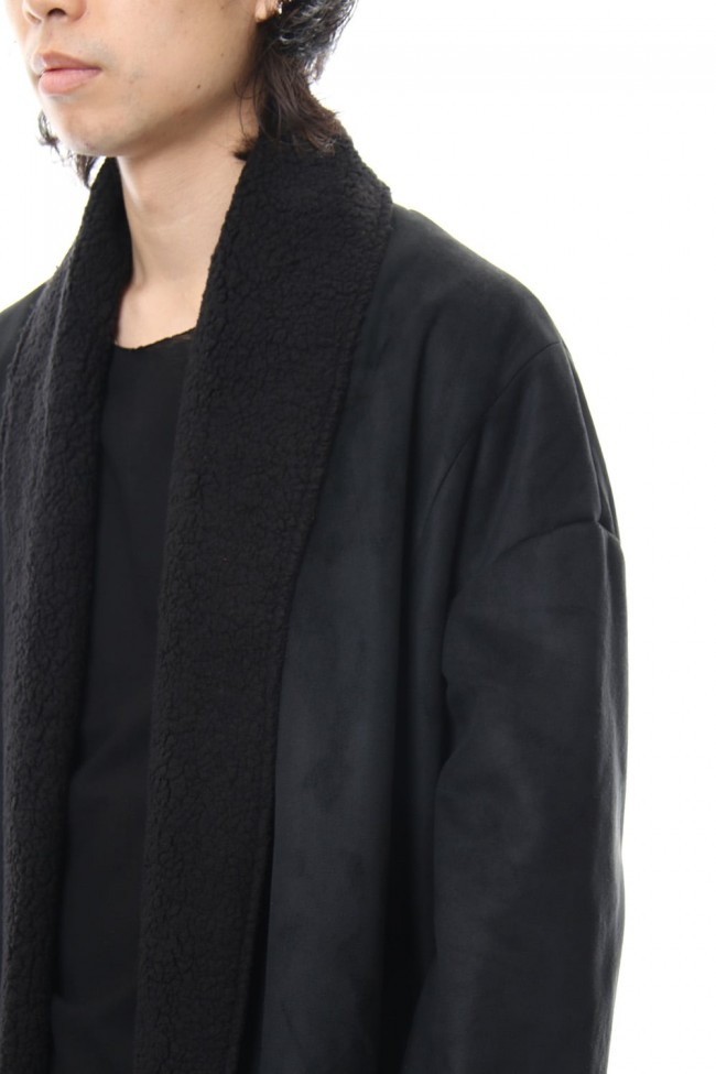 Fake Mouton Coat (LONG) - blk/blk