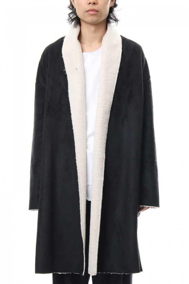 Fake Mouton Coat (LONG) - blk/ecru