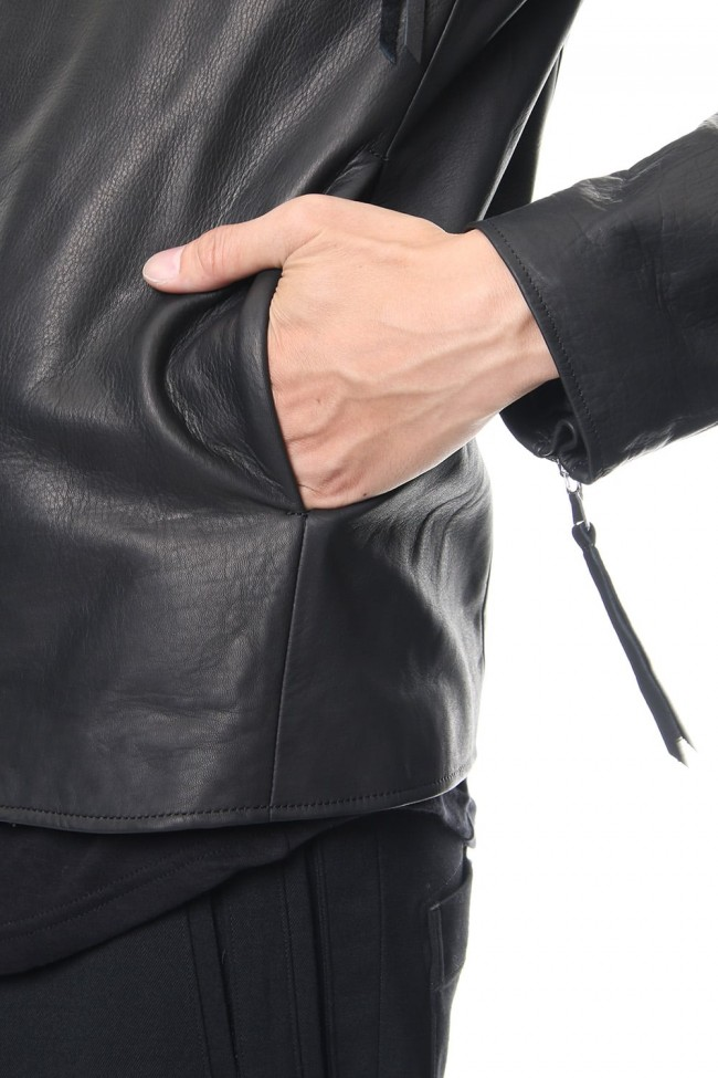 Twin Zip Leather Jacket - blk
