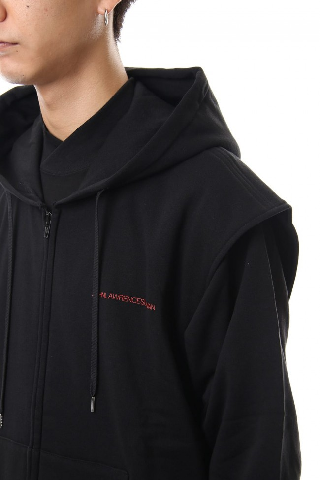 COTTON SWEATTUCKED SHOULDER HOODIE Black