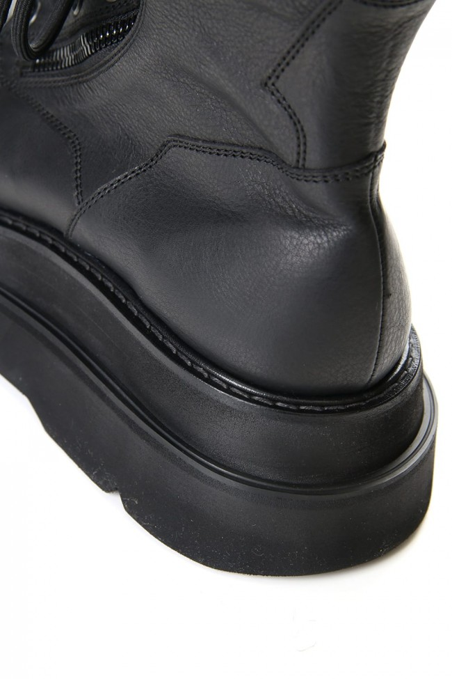 W SOLE ZIP COMBAT BOOTS Black