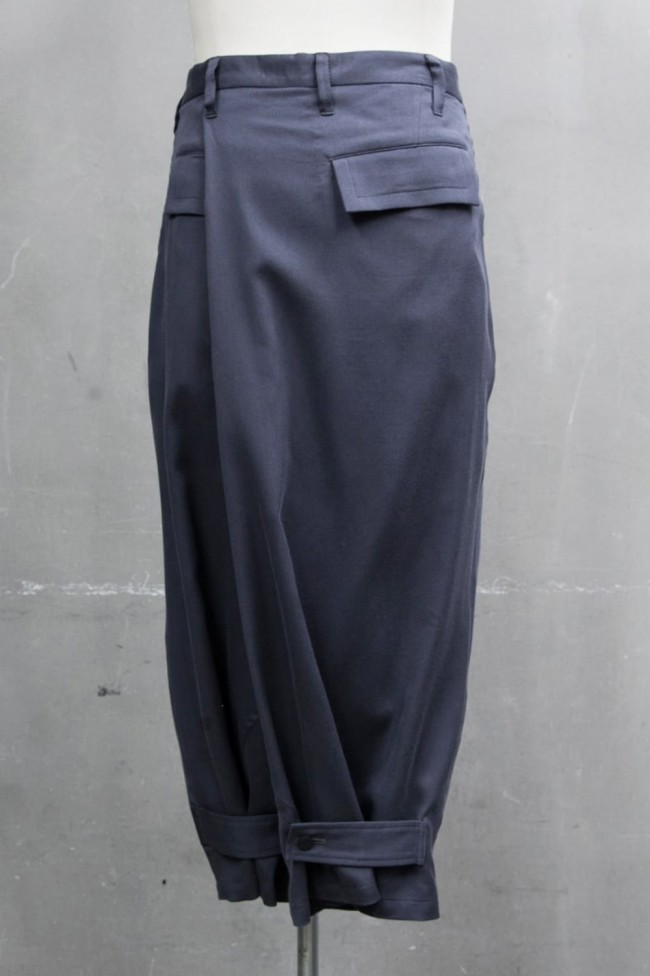 FOLDED BAGGY TROUSERS Blue Gray