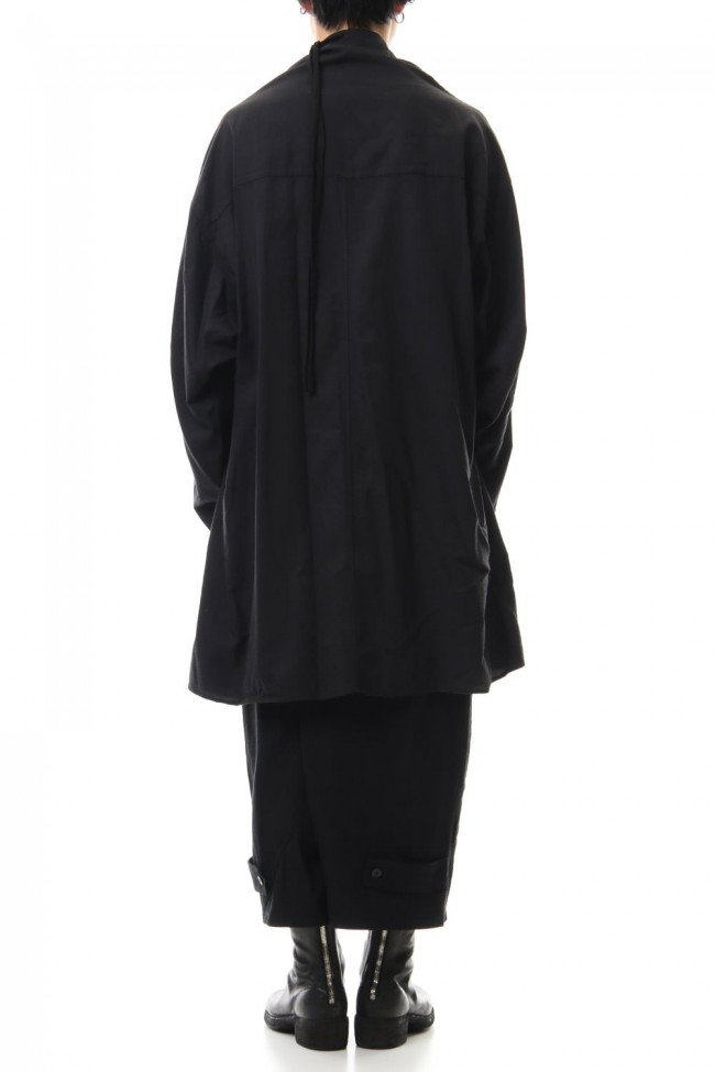 DRAPE NECK SHIRT Black