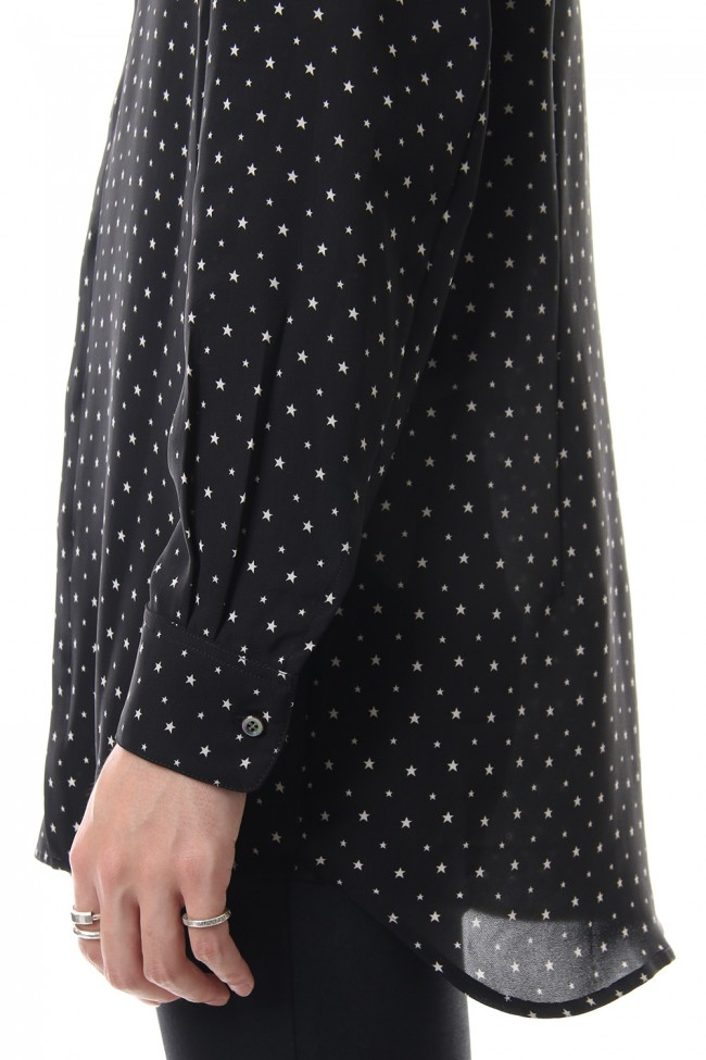 Chiffon star print shirt Black × Off White