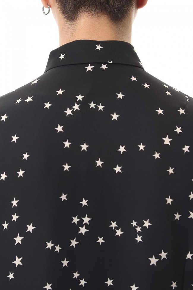 Chiffon Random Star Print Shirt Black × Cream