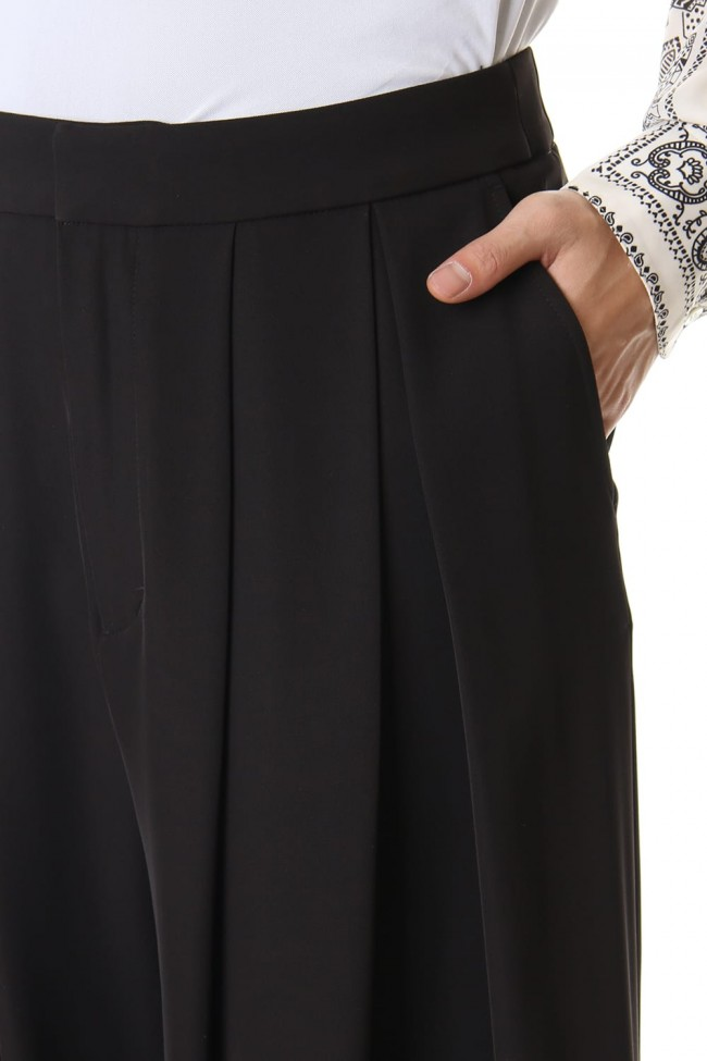 Dry Georgette Stretch Tuck Wide Pants
