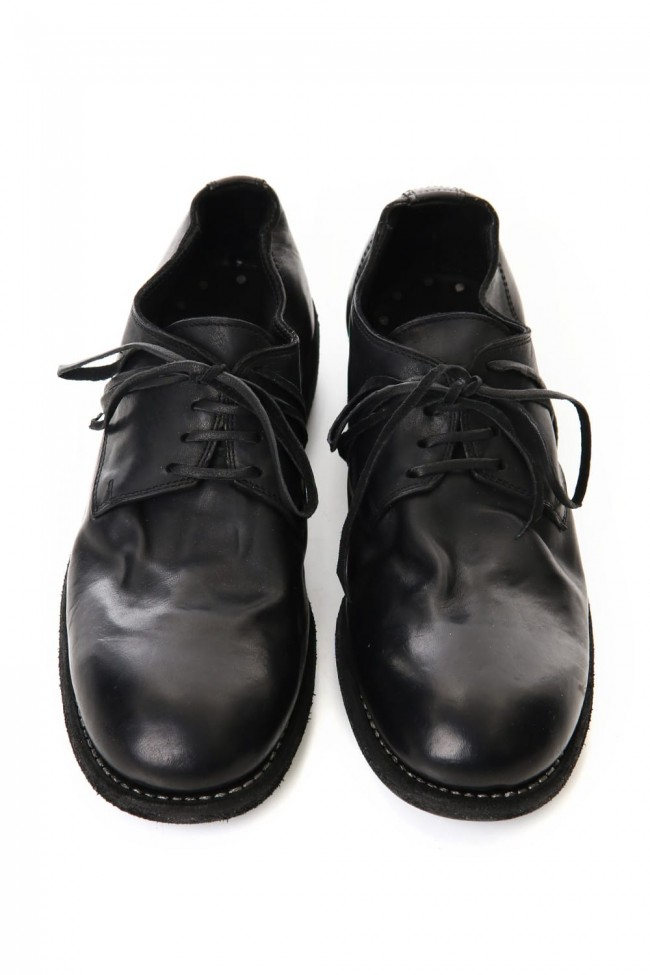 Classic Derby Shoes Laced Up Single Sole - Horse Full Grain Leather - Black