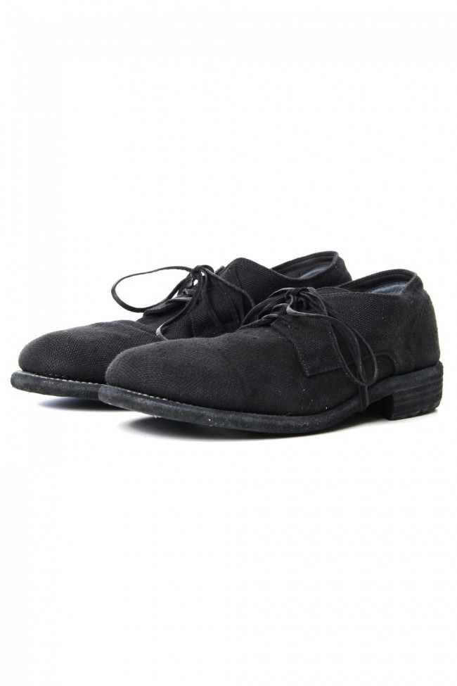 Classic Derby Shoes Laced Up Single Sole - 992  Linen - Black