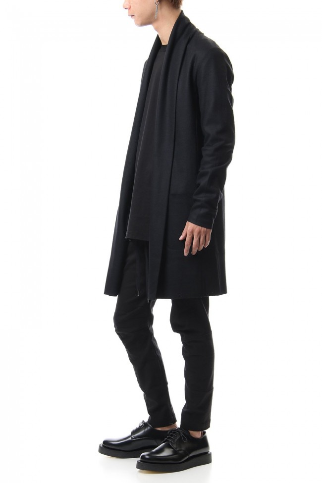 Flannerana smooth long Stole Cardigan Black