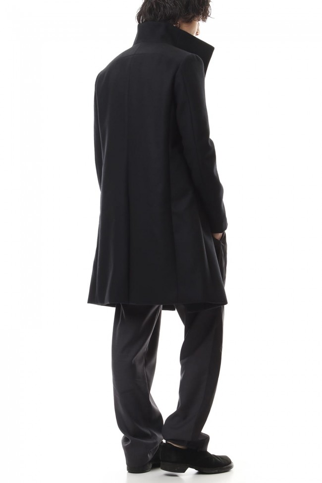 Cashmere mixed flat double melton stand collar coat