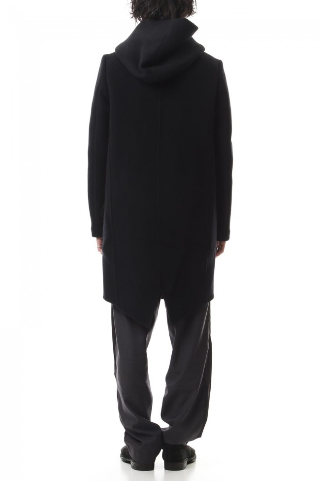 Cashmere mixed double face beaver hooded coat Black