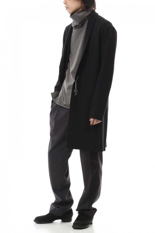 Cashmere mixed stretch furano stole collar coat Black