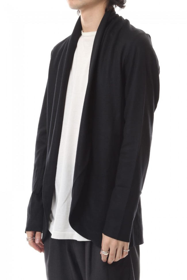 Flannerana smooth stole cardigan Black